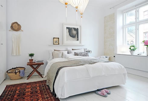 Ex&le of a danish bedroom design in Other & Fancy and Youthful Apartment in Sweden | Interior Design Decorating ...