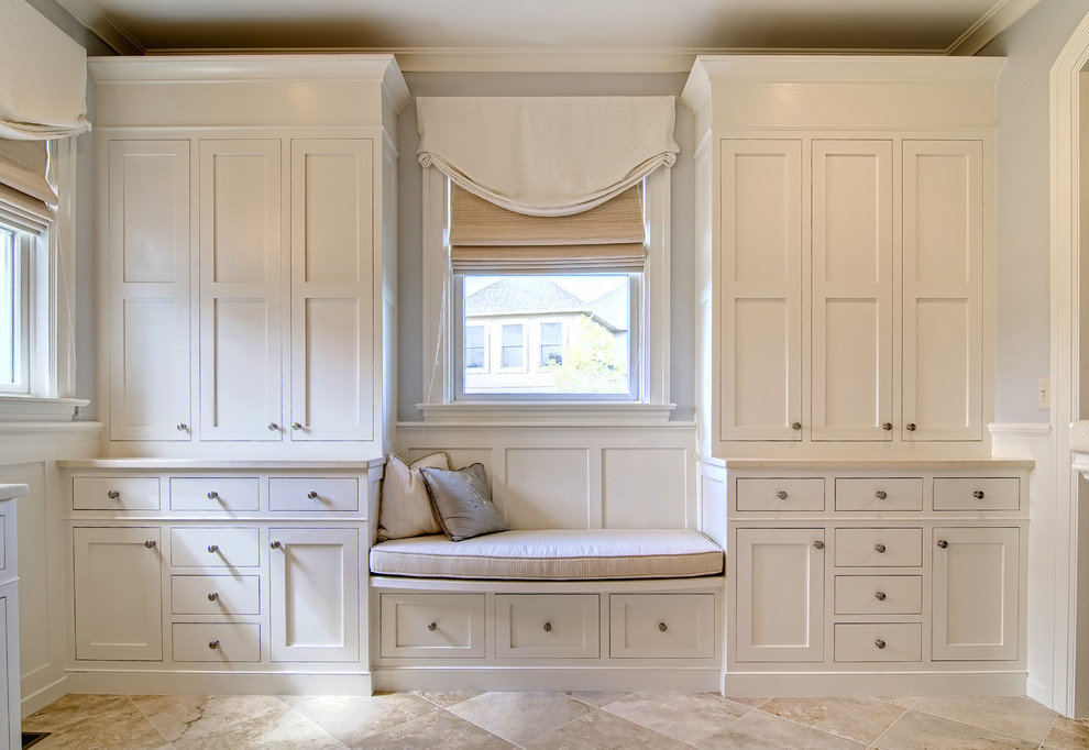 Example of a classic bedroom design in Other with gray walls