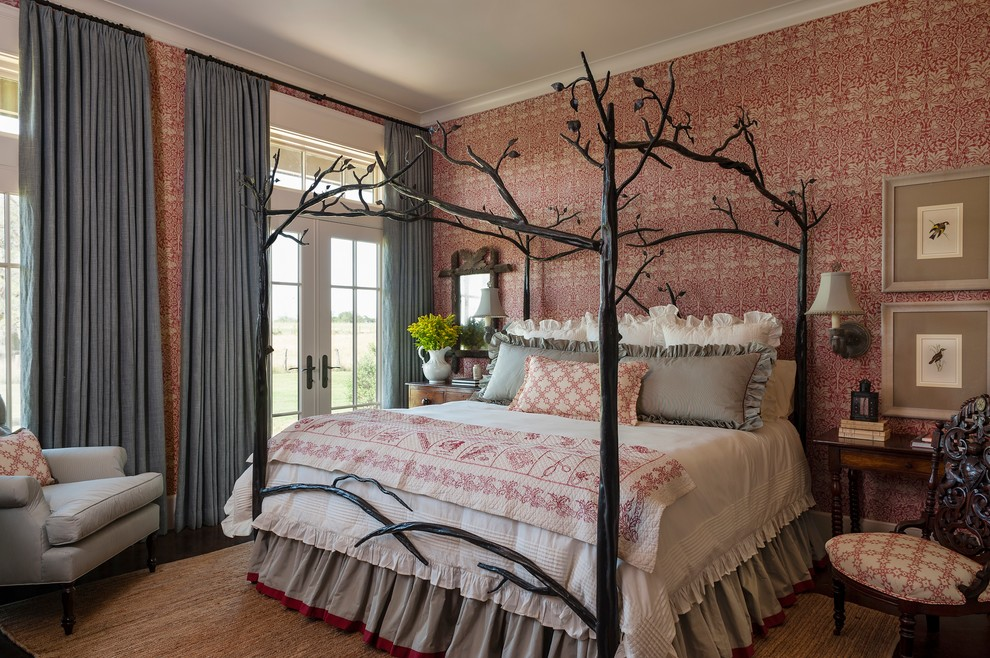 Elegant master dark wood floor bedroom photo in Houston with multicolored walls and no fireplace