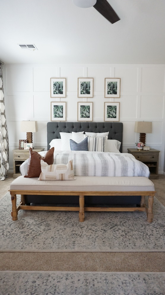 Example of a mid-sized cottage master carpeted and beige floor bedroom design in Phoenix with gray walls