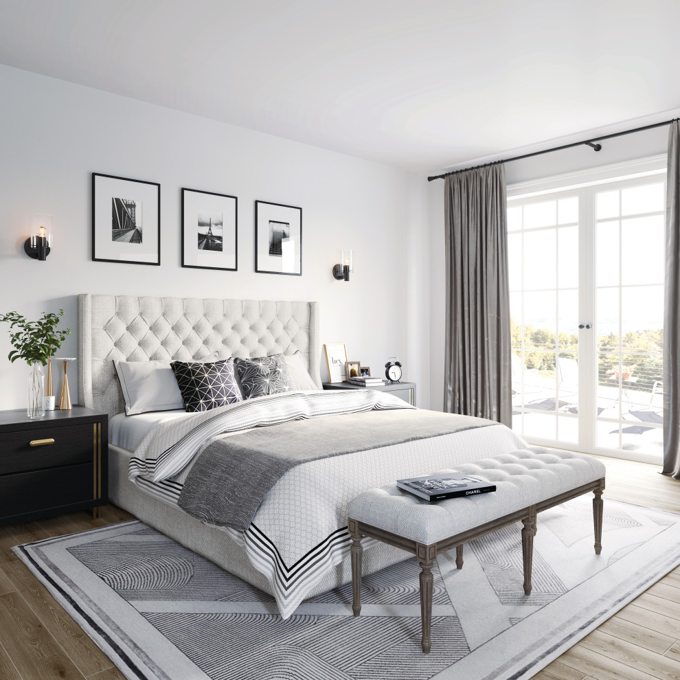 Example of a transitional bedroom design in Other