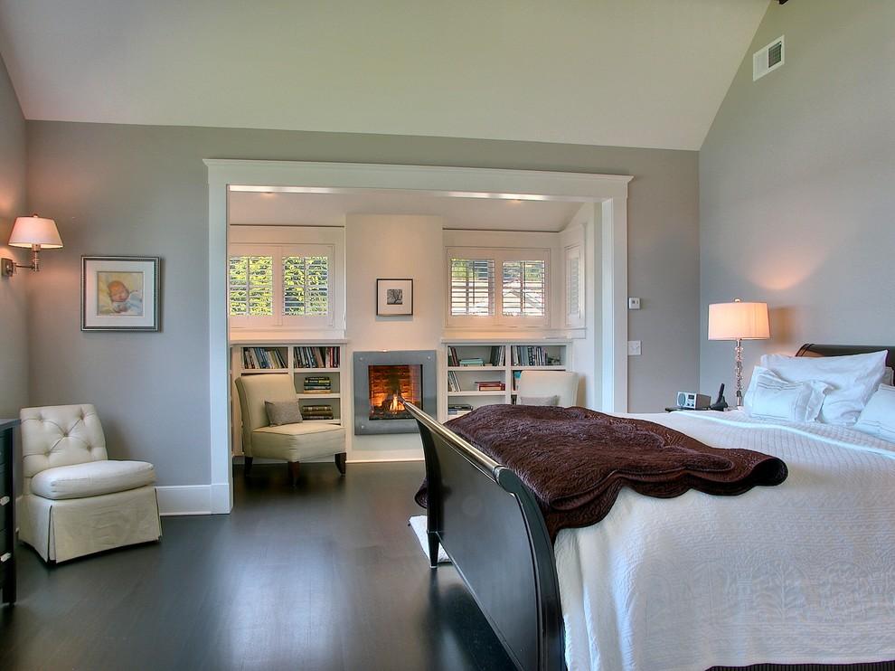 Bedroom - contemporary dark wood floor bedroom idea in Seattle with gray walls