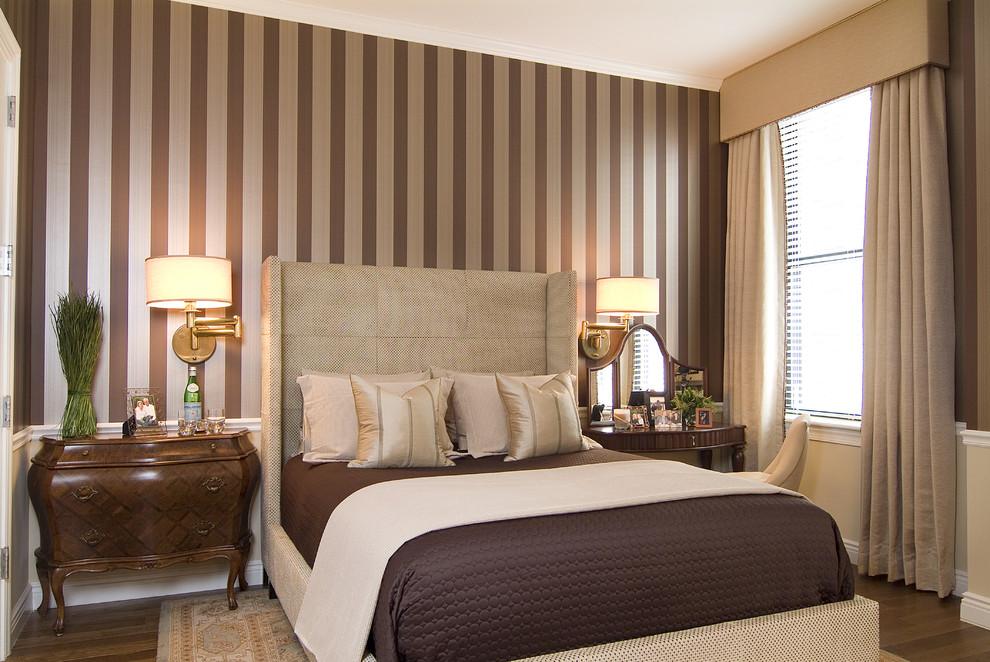 Bedroom - mid-sized traditional master medium tone wood floor bedroom idea in New York with brown walls