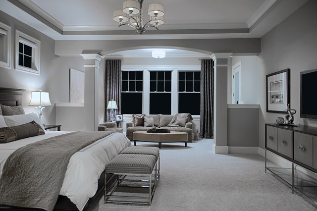 fifty shades of gray transitional bedroom