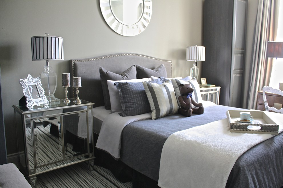 Transitional carpeted bedroom photo in Toronto with gray walls