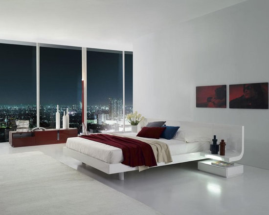 Firenze - White Lacquer Platform Bed with Built in Nightstands - Features