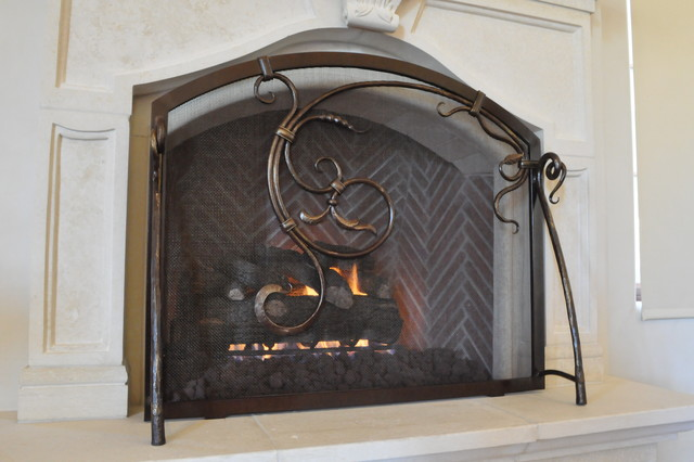 Fireplace screen traditional bedroom phoenix by grizzly iron inc - Houzz fireplace screens ...