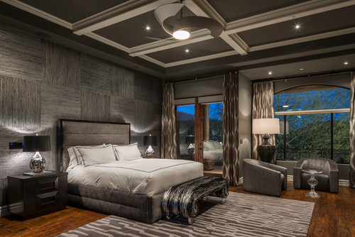king sized platform bed with drawers alight coloured wooden ceiling light as well as a bedroom bench with metal legs light wood balcony decks round