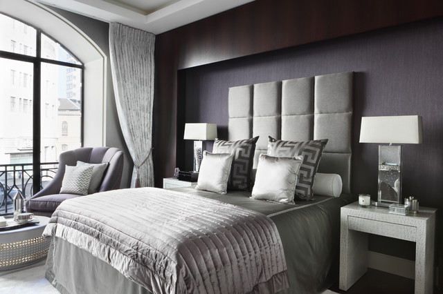 contemporary master bedroom idea in london with gray walls - Gray Purple Bedroom