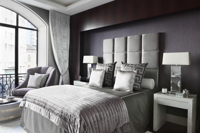 Bedroom Contemporary Master Idea In London With Gray Walls