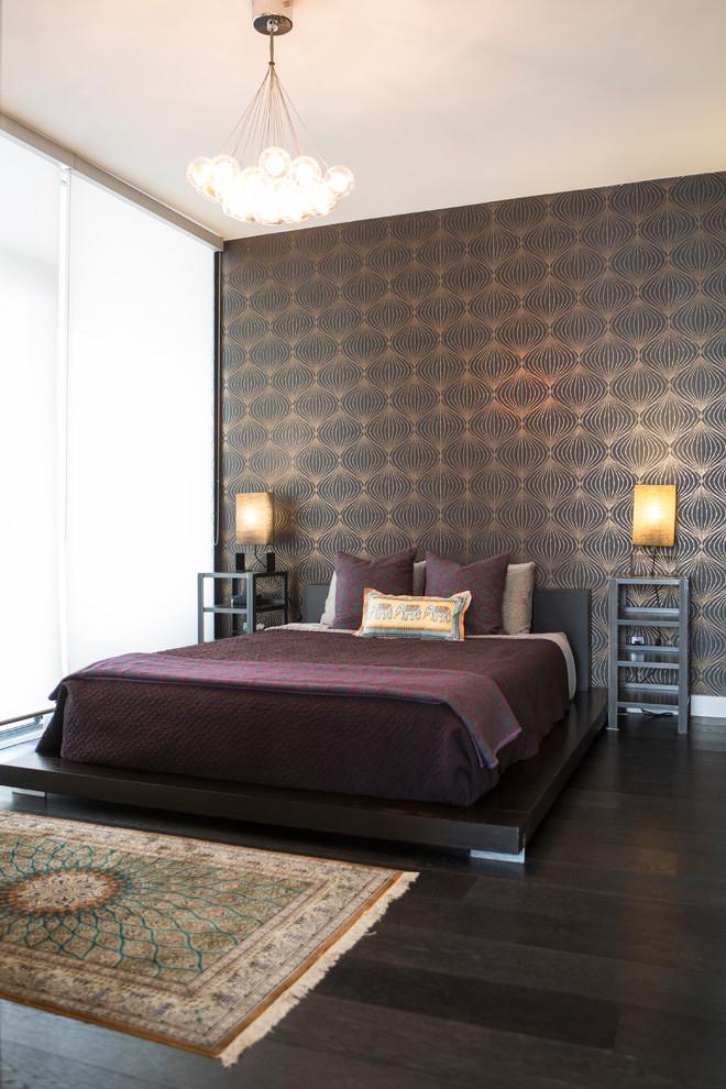 Small master dark wood floor bedroom photo in Toronto with black walls