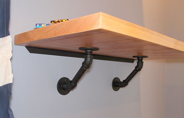 Floating Desk With Iron Pipe Brackets Modern Bedroom