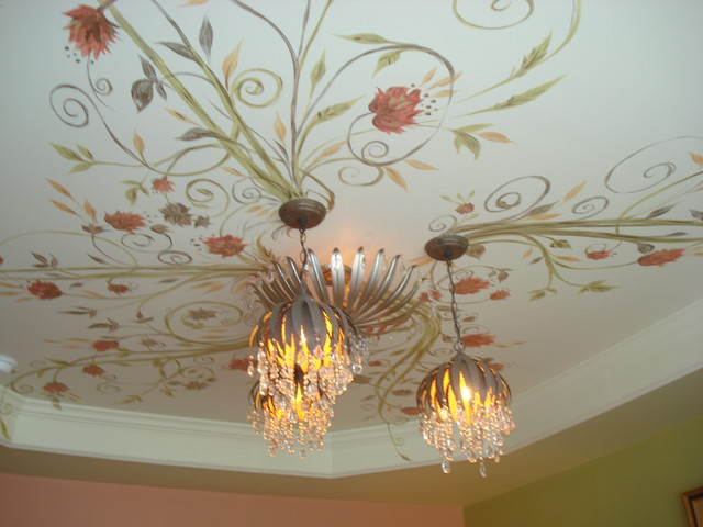 Floral Vine Bedroom Ceiling Mural