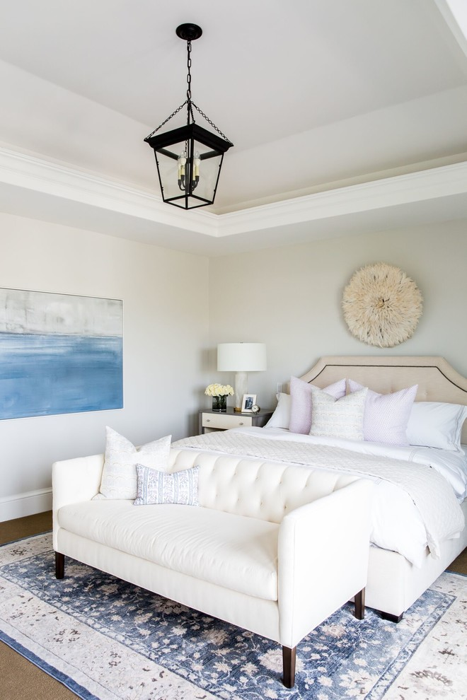 Inspiration for a transitional bedroom remodel in Salt Lake City with beige walls