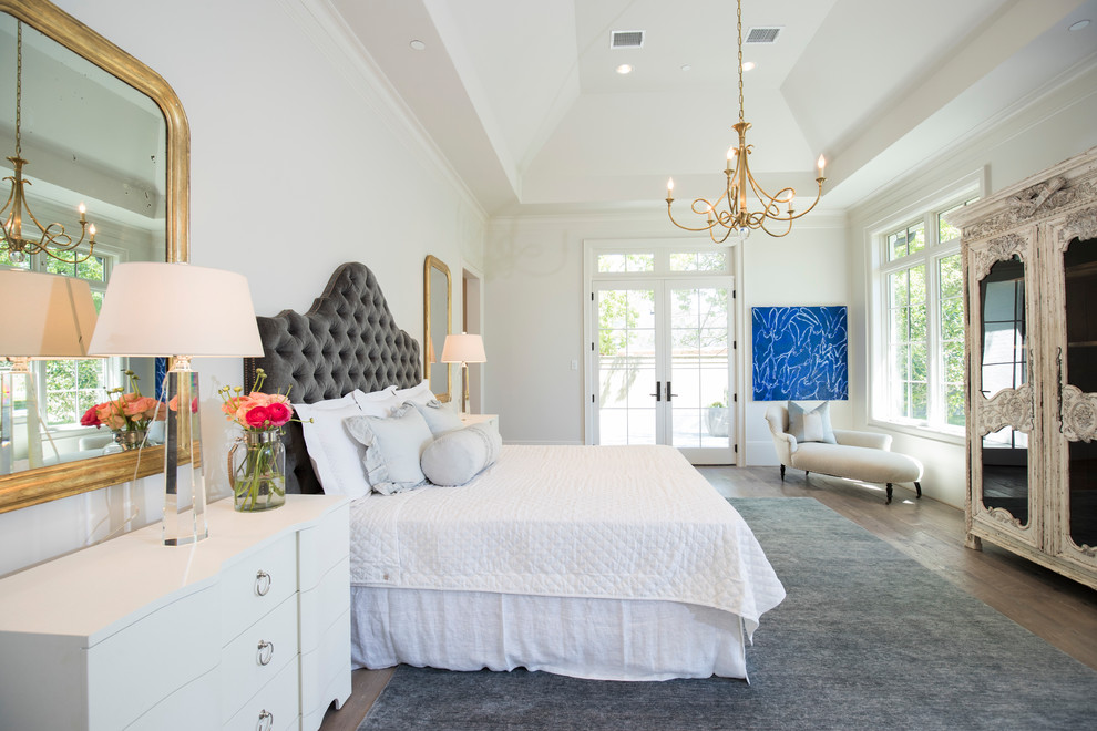 Inspiration for a timeless master dark wood floor and brown floor bedroom remodel in Austin with white walls