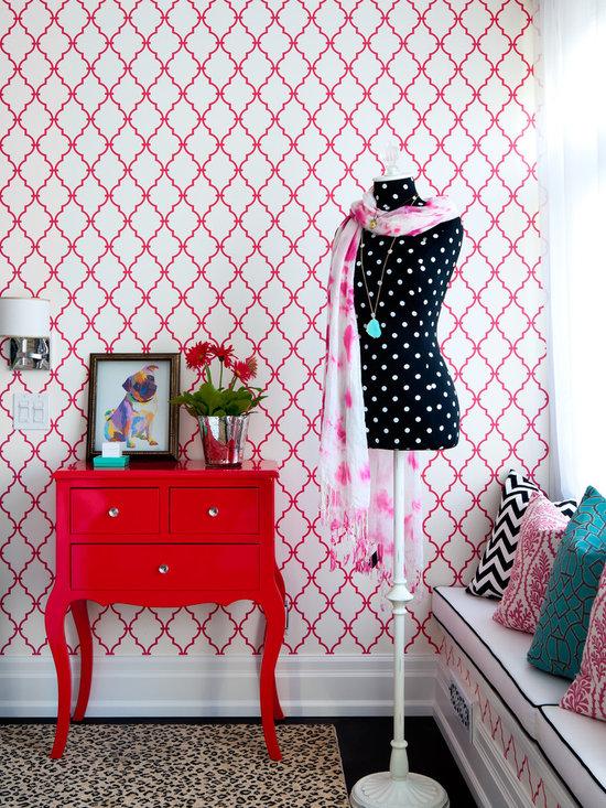 2,741 Teen Bedroom. pink wallpaper. Home Design Photos