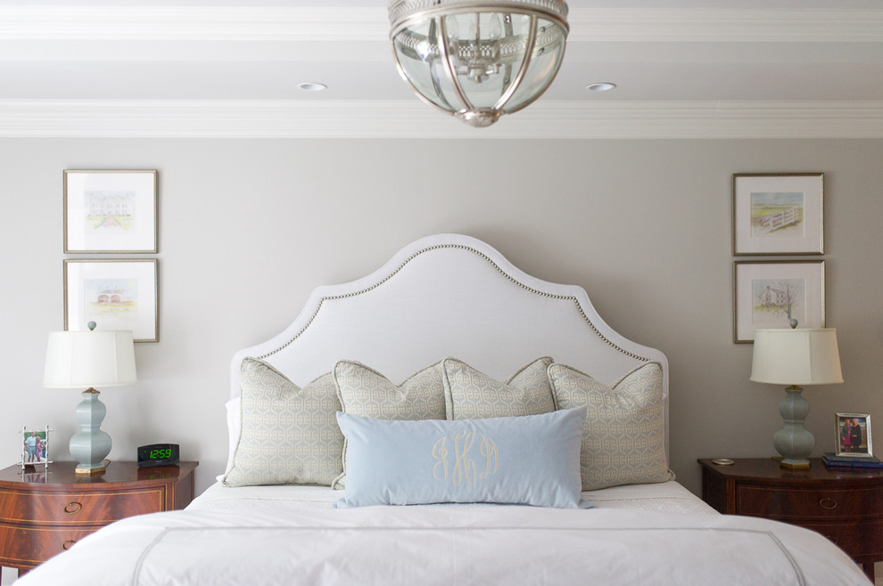 Inspiration for a transitional bedroom remodel in Other with gray walls