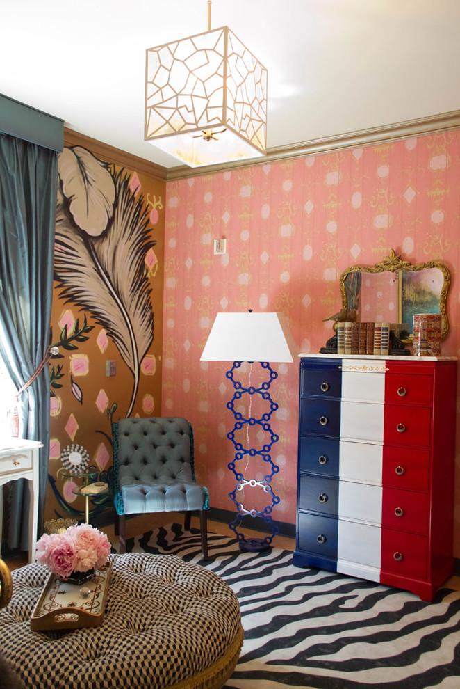 Bedroom - eclectic bedroom idea in Los Angeles with pink walls