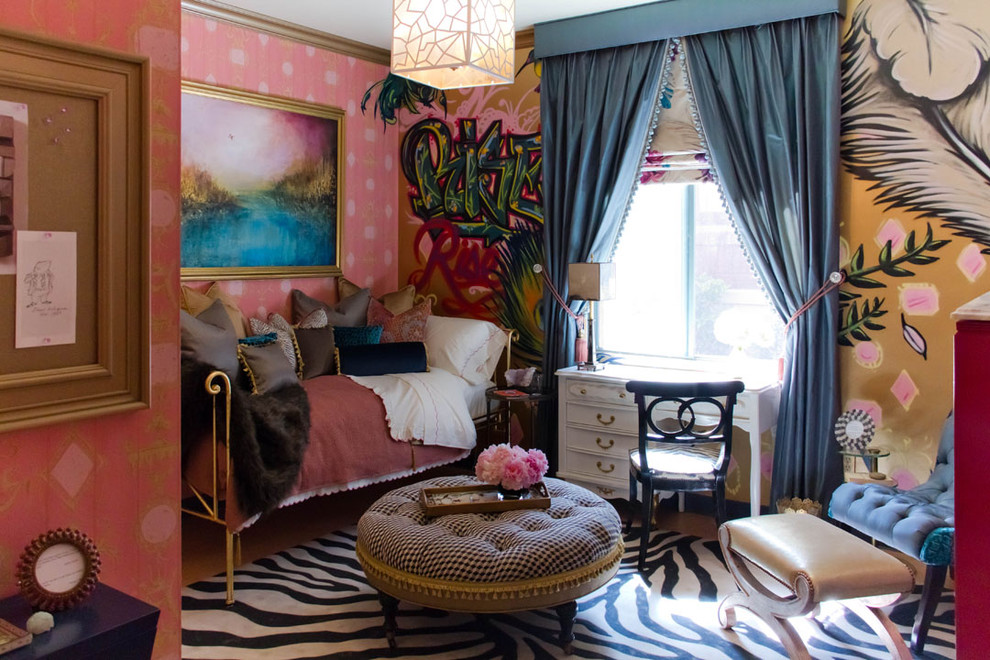 Inspiration for an eclectic bedroom remodel in Los Angeles with multicolored walls