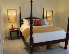 Four Poster Bed with Red, Blue and White Accents traditional bedroom