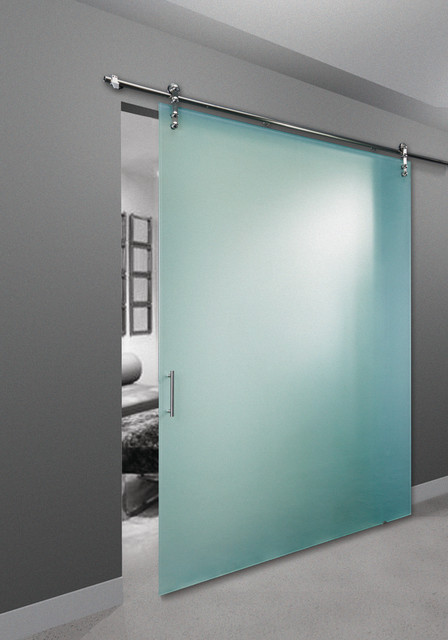 Frameless glass barn door contemporary bedroom for Door 9 denver