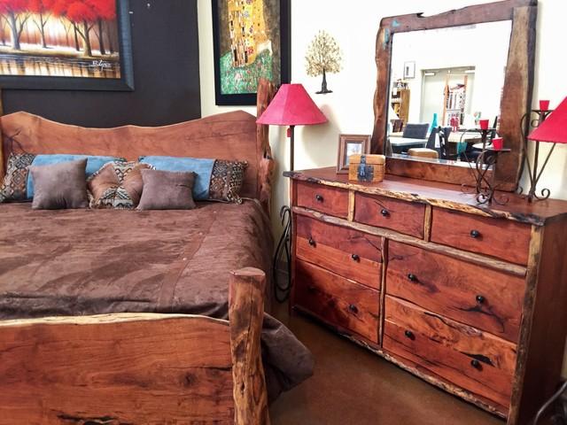 Freeform style mesquite wood bedroom set - Southwest style bedroom furniture ...