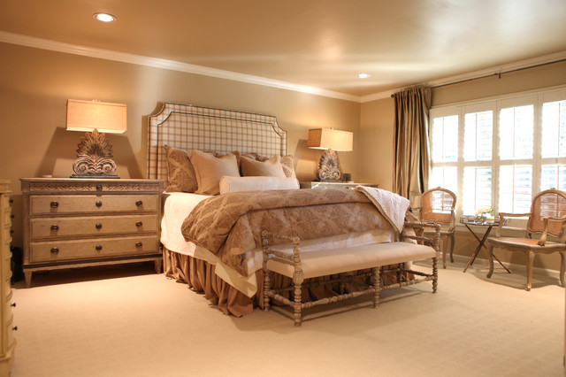 French Country neutral Master bedroom - Traditional - Bedroom ...