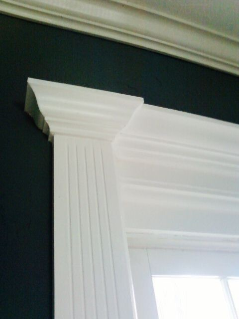 French door casing fluted detail and crown, in white - Traditional ...