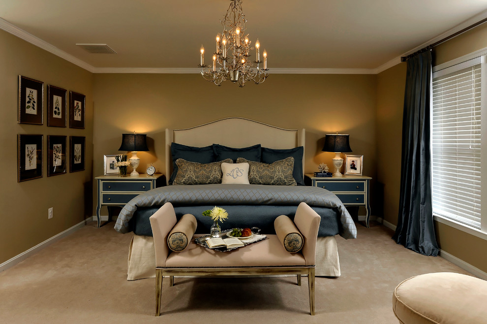 Inspiration for a large timeless master carpeted bedroom remodel in DC Metro with brown walls and no fireplace