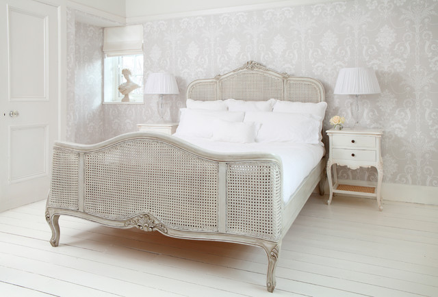Wonderful French Grey Painted Rattan Bed Shabby Chic Style Bedroom