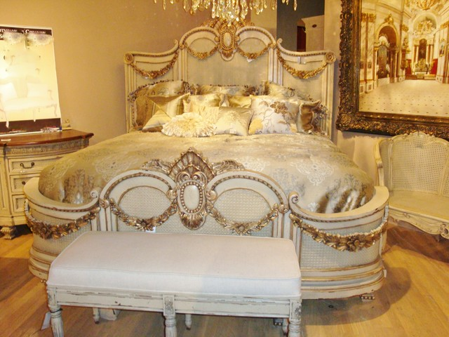 French Handcarved Mansion Bed Parchment With Gold Accents Shabby Chic Style  Bedroom