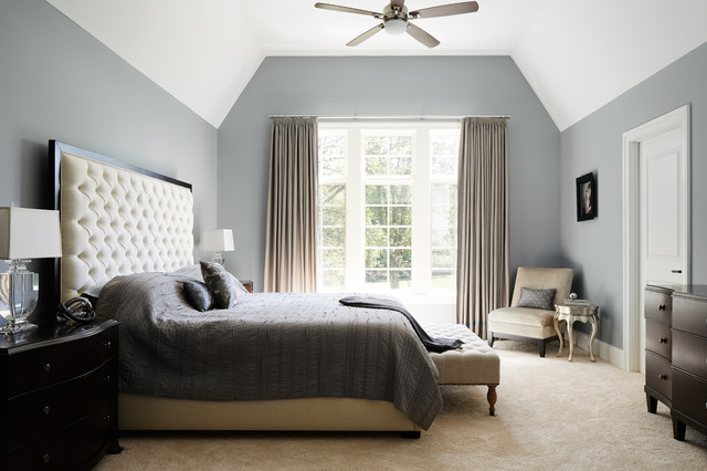 French Industrial / New Construction Transitional Bedroom