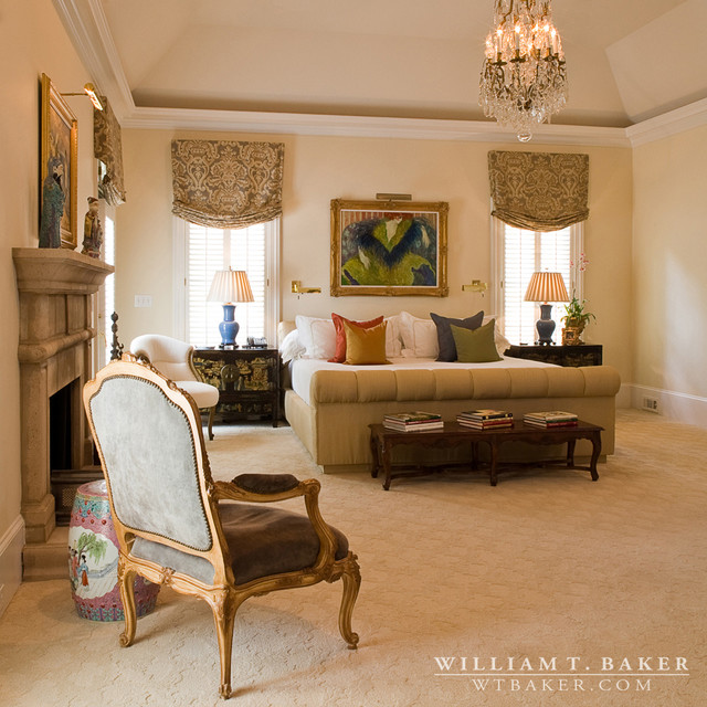 french stucco manor house transitional bedroom