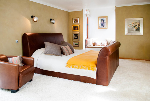 Fresh And Light Master Bedroom With Tan Leather Sleigh Bed Contemporary Bedroom Other