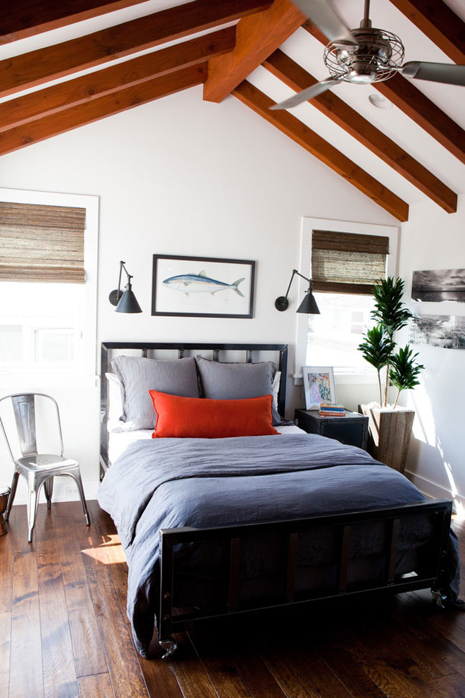 Mid-sized elegant bedroom photo in Orange County with white walls