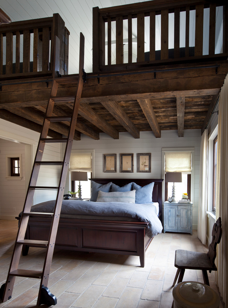 Bedroom - country bedroom idea in Austin with white walls