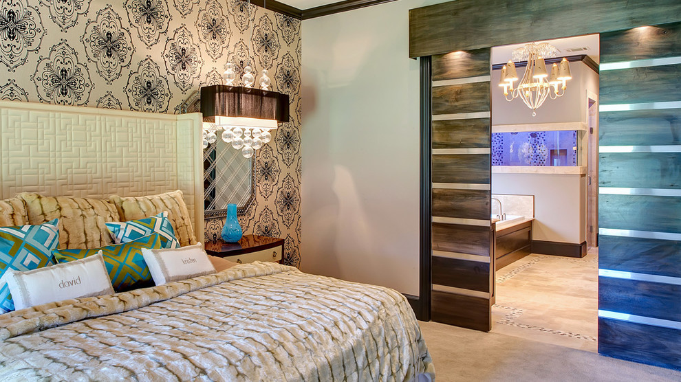 Inspiration for a modern bedroom remodel in Dallas with multicolored walls