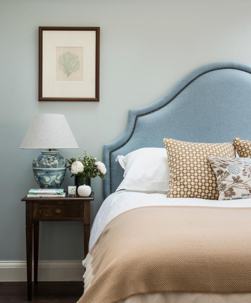 Bedroom - mid-sized traditional master dark wood floor bedroom idea in London with blue walls
