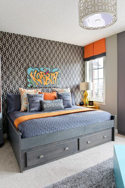Funky and bold skateboard themed room packed with multipurpose storage features transitional bedroom - Skateboard themed bedroom ...