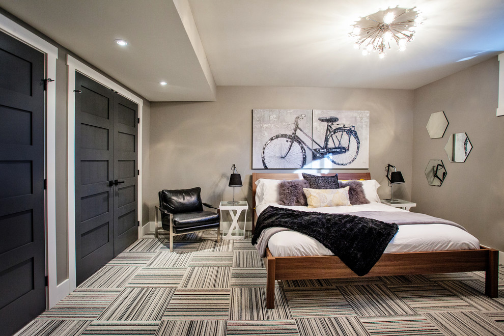 Bedroom - contemporary carpeted and multicolored floor bedroom idea in Toronto with gray walls
