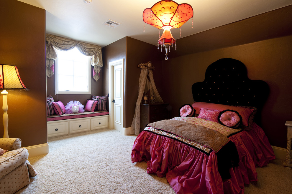 Inspiration for a timeless carpeted bedroom remodel in Oklahoma City with brown walls
