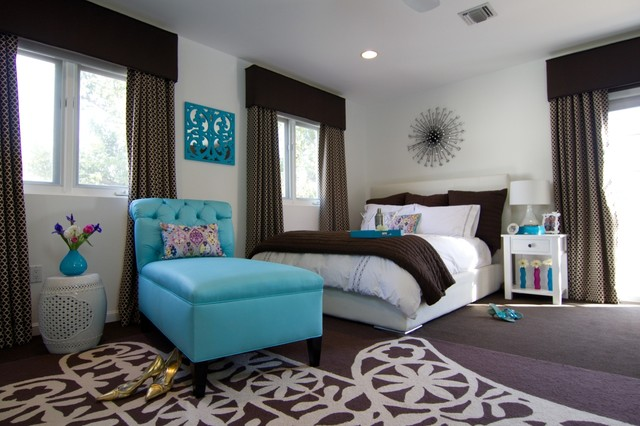 Blue And Brown Bedroom georgette westerman interiors - contemporary - bedroom - los