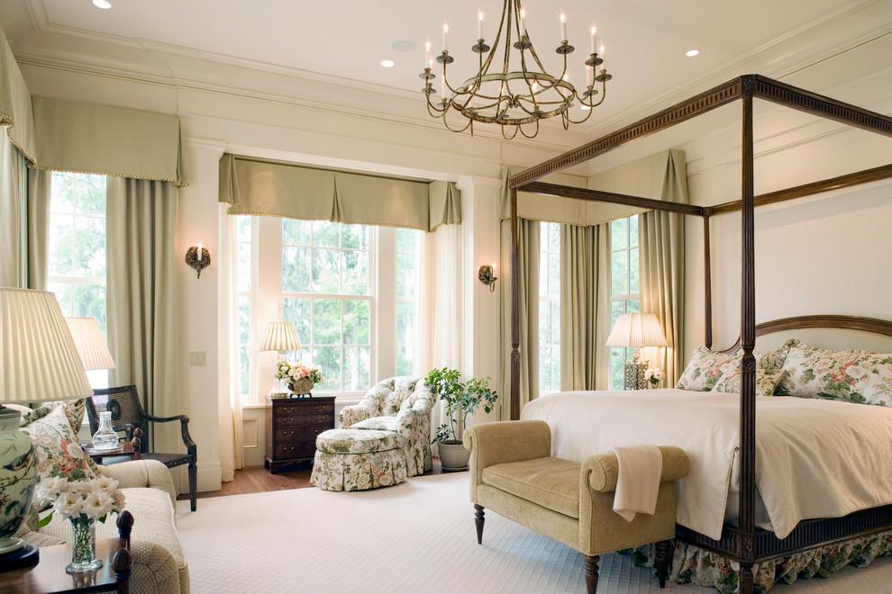 Elegant bedroom photo in Atlanta with beige walls