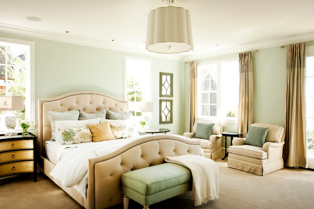 Elegant bedroom photo in Portland with green walls. Pale Green Walls   Houzz