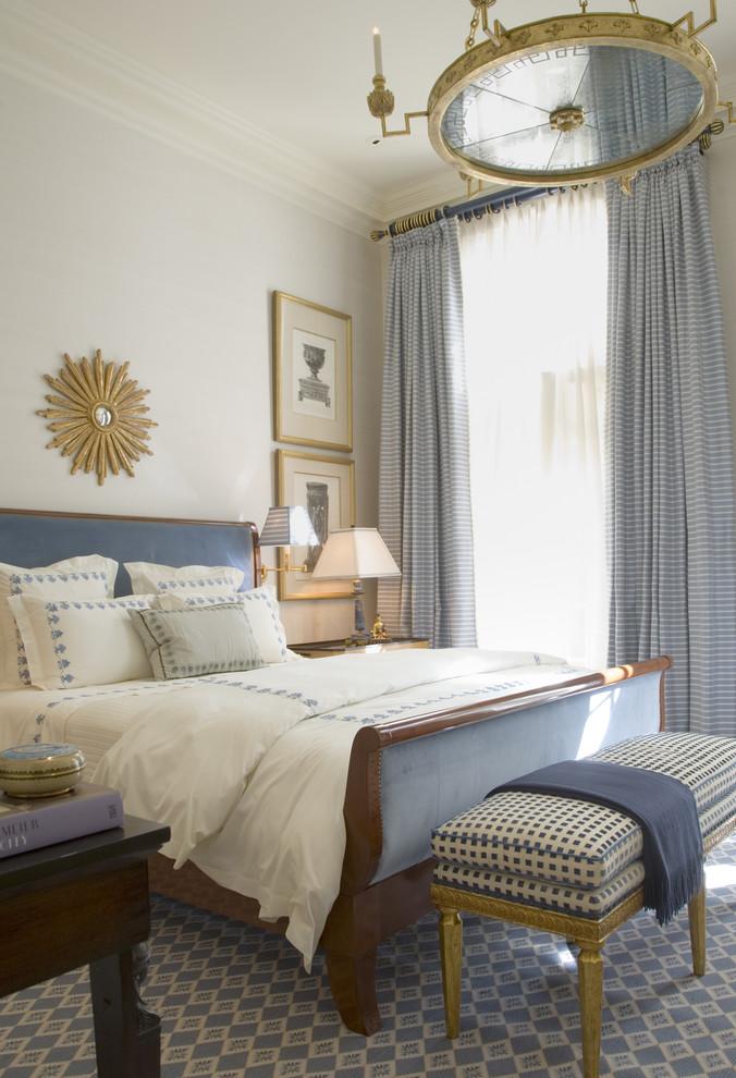 Bedroom - traditional blue floor bedroom idea in San Francisco with gray walls