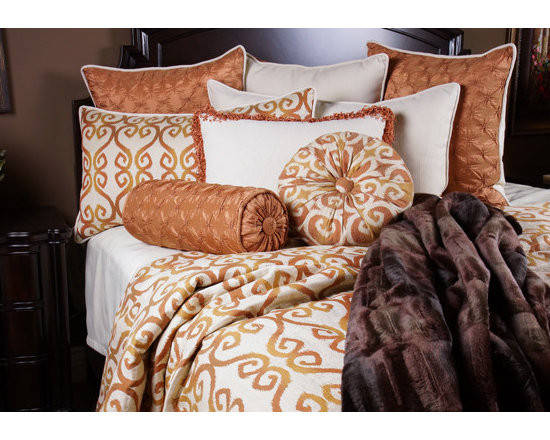 Bedding 2013 - GINGER: A bright fun Tangerine scroll pattern on a Oatmeal fabric with an assortment of Taupe highlights. The silk like Mandarin colored pillows add and exciting playful look to this set