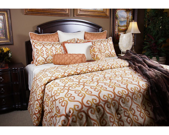 K&R Bedspreads - Bedding 2013 - GINGER: A bright fun Tangerine scroll pattern on a Oatmeal fabric with an assortment of Taupe highlights. The silk like Mandarin colored pillows add and exciting playful look to this set.