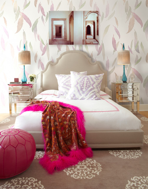 Girl's Bedroom by Brett Design with Feathers Wallpaper contemporary-bedroom