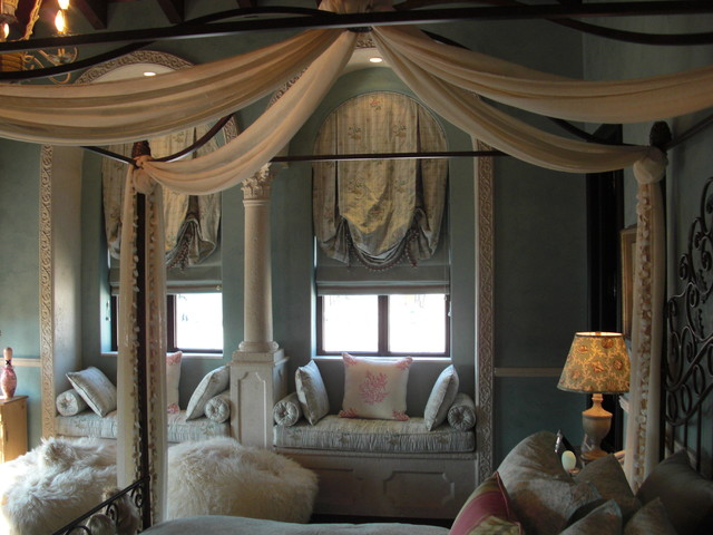 Girl's Canopy Bed and Window Seat contemporary-bedroom