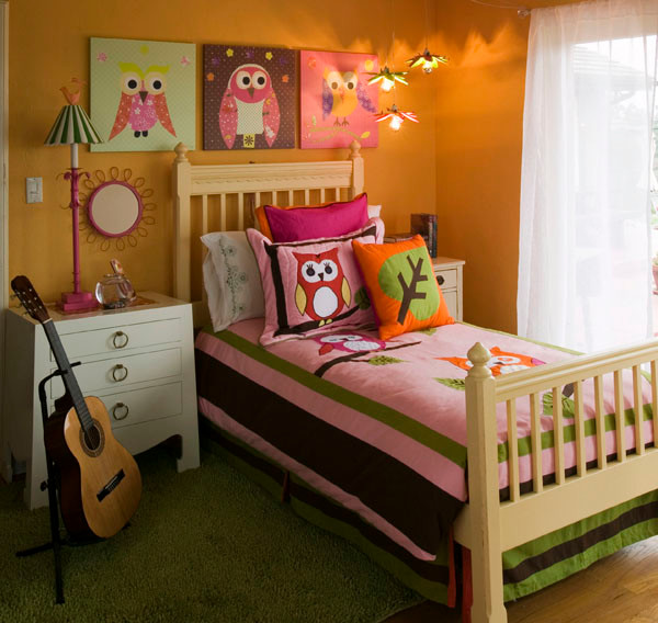 girl 39 s mod owl themed bedroom modern bedroom other metro by oopsy daisy fine art for kids